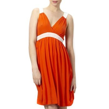Kookai Orange Bi-Colour Silk Dress