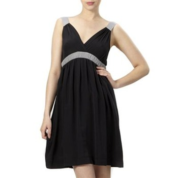Kookai Black Bi-Colour Silk Dress