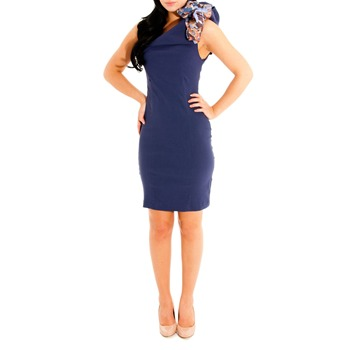 Jolaby Blue One Shoulder Fitted Dress