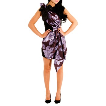 Jolaby Black/Purple Short Origami Dress