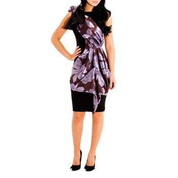 Jolaby Black/Purple Midi Origami Dress