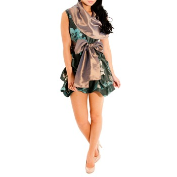 Jolaby Green Cowl Short Hitch Dress