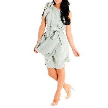 Jolaby Pale Green Bow One Shoulder Dress