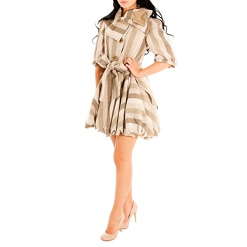 Jolaby Beige Multi Bubble Hem Coat