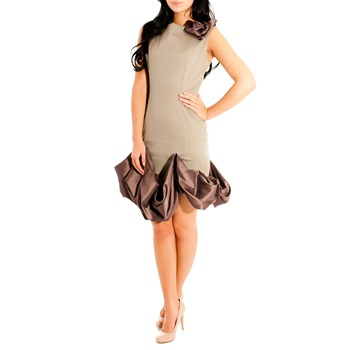 Jolaby Grey/Brown Puffball Ruched Hem Dress
