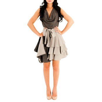 Jolaby Brown/Grey Layer Tiered Dress