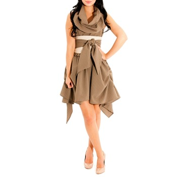 Jolaby Beige Ruched Sash Waist Dress
