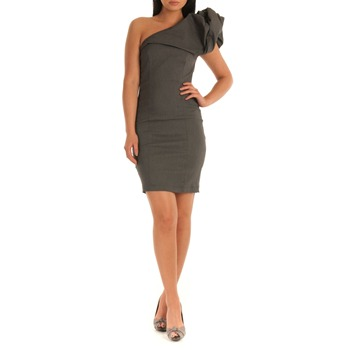 Jolaby Grey Fitted One Shoulder Dress
