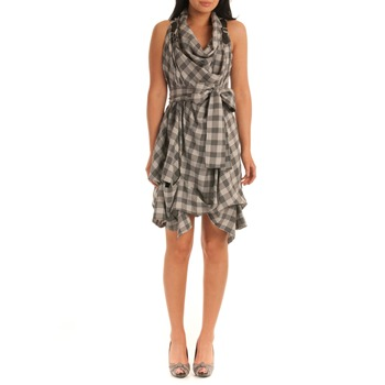 Jolaby Grey Check Cowl Neck Dress
