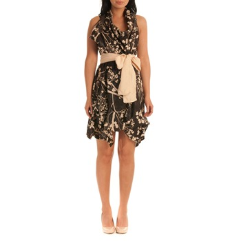 Jolaby Chocolate/Cream Floral Bow Dress