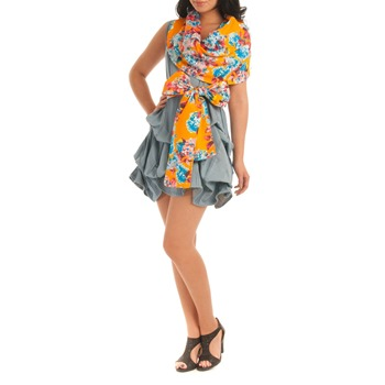 Jolaby Blue/Orange Cowl Hitch Short Dress