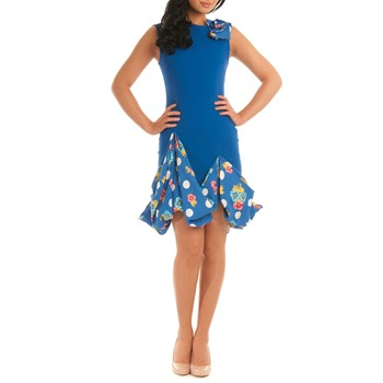 Jolaby Blue Puffball Origami Hem Dress