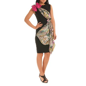 Jolaby Black Multi Origami Midi Dress