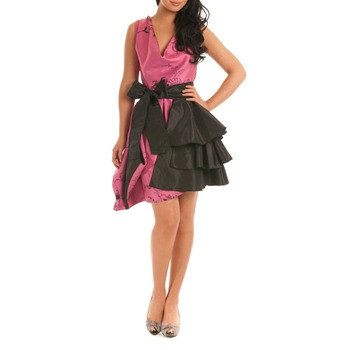 Jolaby Pink/Black Layer Tiered Dress