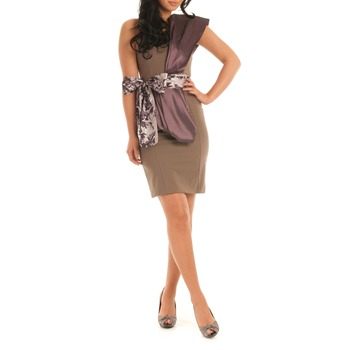 Jolaby Brown/Purple Shoulder Sash Long Dress