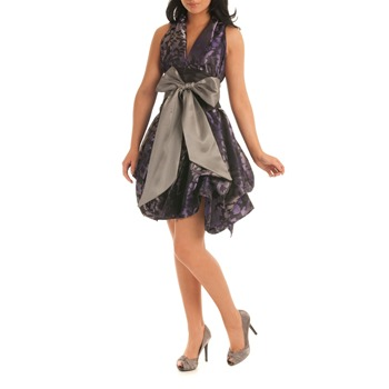 Jolaby Purple V-Neck Ruched Dress