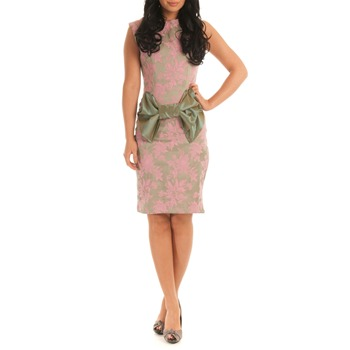 Jolaby Pink/Green Bow Printed Dress