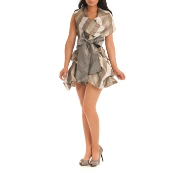 Jolaby Silver/Multi Cowl Hitch Short Length Dress