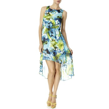 Closet Blue/Green Floral Dipped Hem Dress