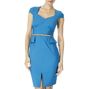 Closet Blue Peplum Waist Belted Dress