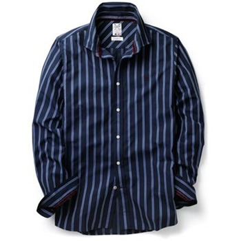 Crew Clothing Navy College Stripe Shirt