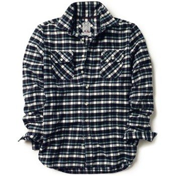 Crew Clothing Navy/Green Ethan Flannel Check Shirt