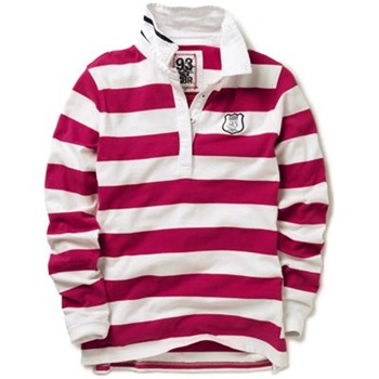 Crew Clothing Pink/White GBR Stripe Rugby Top