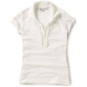 Crew Clothing White Ruffle Front Polo Shirt