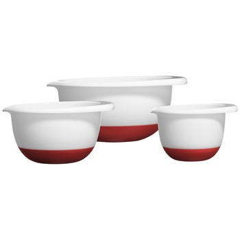 Premier Housewares White/Red Set of Three Mixing Bowls Non Slip