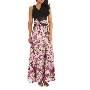 Jolaby Purple/Multi Floral Flared Maxi Dress