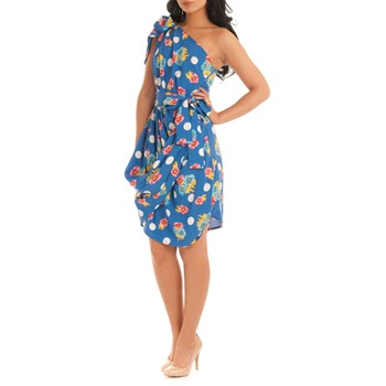 Jolaby Blue Large Polka Dot/Floral Dress