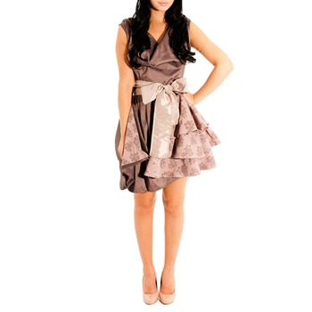 Jolaby Brown Layer Tiered Dress