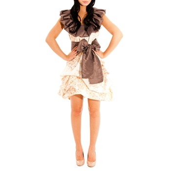 Jolaby Peach/Brown Frill Neck Dress