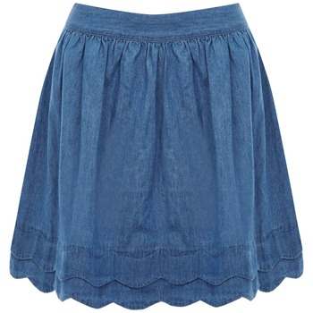Oasis Blue Denim Scallop Hem Chambray Skirt
