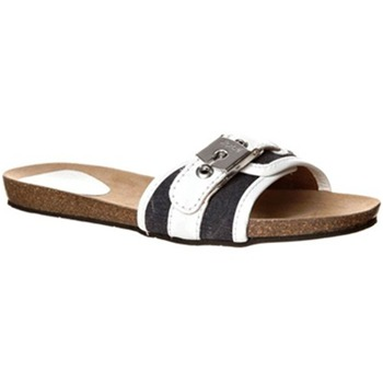 Scholl White/Black Moorea Buckle Mules