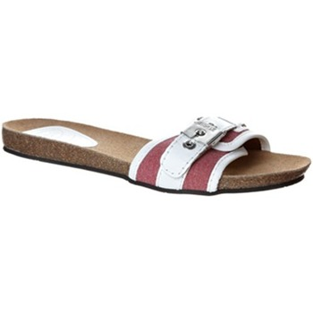 Scholl White/Red Moorea Buckle Mules