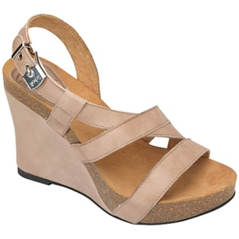 Scholl Taupe May Strappy Wedge Sandals 10cm Heel