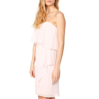 Badgley Mischka Pink Frill Front Dress