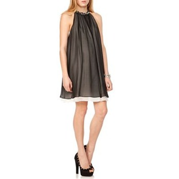 Erin Fetherston Black Beaded Neck Trapeze Silk Dress