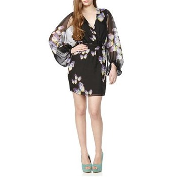 Erin Fetherston Black Butterfly Silk Kimono Dress