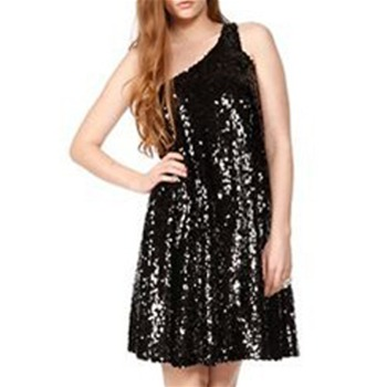 Halston Heritage Black Asymmetric Sequin Dress