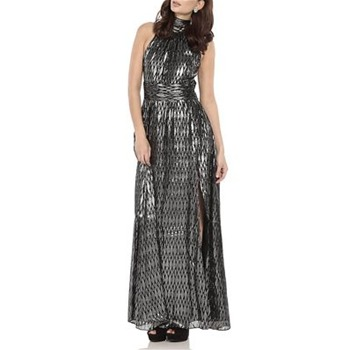 Halston Heritage Black/Silver Silk-Blend Dress