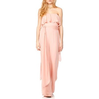 Halston Heritage Nude Strapless Silk Jumpsuit
