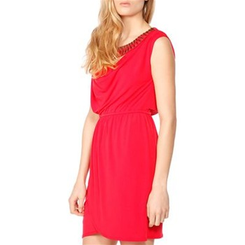 Laundry Red Beaded Collar Jersey Dress