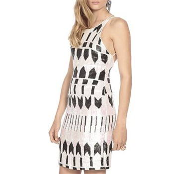 Nicole Miller Black/White Arrow Head Silk Dress