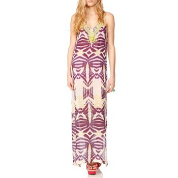 Nicole Miller Plum Embellished Tribal Silk Dress