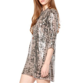 Parker Nude Marble Sequin Shift Silk Dress