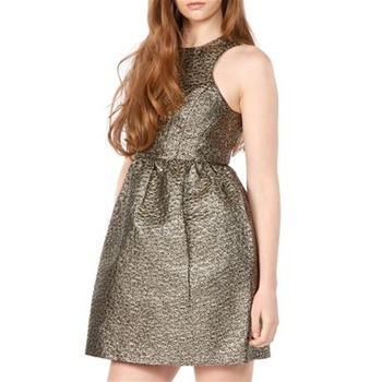 Tibi Brown Metallic Jacquard Dress
