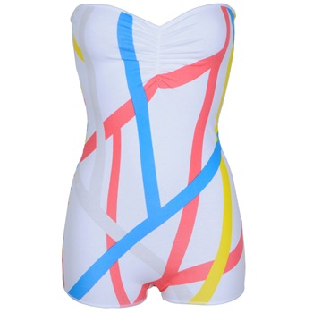 Electric Tees White Bars Bandeau Body