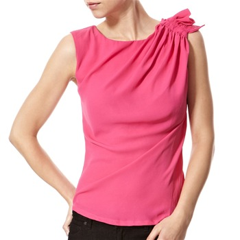 Vivi Boutique Fuchsia Gathered Shoulder Blouse